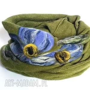 Komin bohemian wełniany etniczny ludowy miły i ciepły handmade
