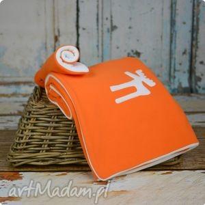 zestaw basic mandarynka - kocyk poduszeczka, kocyk, koc, poduszka, łoś