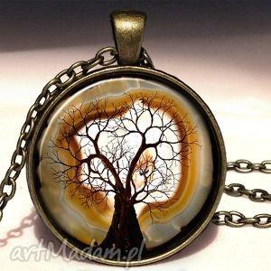 ręcznie zrobione naszyjniki kamienne drzewo - duży medalion z łańcuszkiem