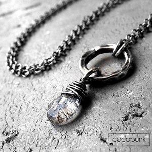 naszyjniki kwarc rutylowy i srebro- delikatny naszyjnik, srebrnynaszyjnik