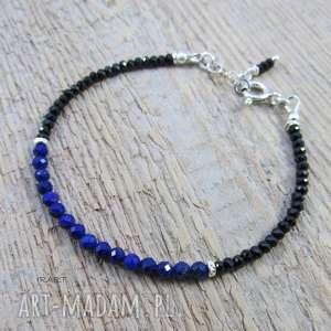 ręcznie wykonane bransoletki delikatna ze spinelem i lapis lazuli