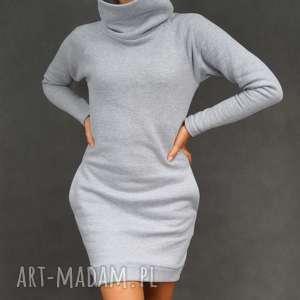 Sukienka dresowa DreSówka z kominem szara, sukienka, dresowa, komin, ciepła,