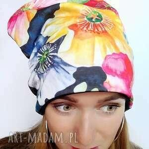 czapka zimowa w kwiaty, kwiaty malowane, ciepła, akwarela, druk