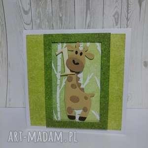 kartka zaproszenie żyrafka w dżungli - żyrafka, las, dżungla, urodziny