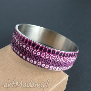 Szeroka bransoleta ze stali, bransoletki, różowy, retro, geometryczne, kwadratowe