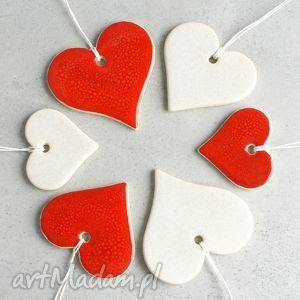 pomysł na świąteczny prezent Serca - zestaw zawieszek świątecznych, serca, zawieszki