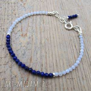 Delikatna z lapis lazuli i chalcedonu, chalcedon, lapis, srebro