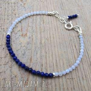 hand-made bransoletki delikatna z lapis lazuli i chalcedonu