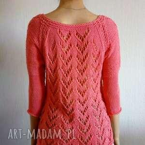 Ażurowa bluzka, bluzka-bawełniana, na-drutach, ażurowa, letni, sweter