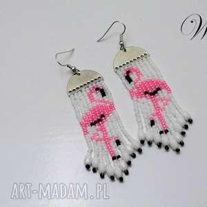 kolczyki koralikowe flamingi, kolczyki, koralikowe, długie, eleganckie, lekkie