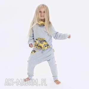 spodnie szare żółty kameleon r 122-158 - spodnie, kameleon
