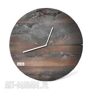 Zegar drewniany ścienny Loft - palony 50cm, drewno, technika-shousugiban, palone