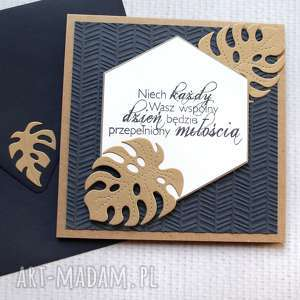 kartki kartka ślubna - monstera granat i złoto, ślub, ślubna, monstera