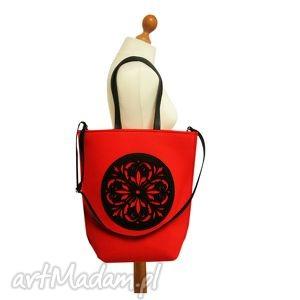 czerwona rozeta, torba, filcowa, torebka, shopper,