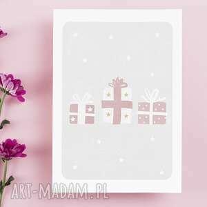 kartka bożonarodzeniowa - prezenty - cardie, świąteczna