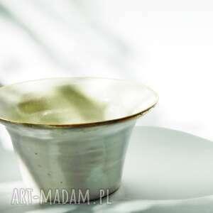 handmade ceramika perłowa misa ze złotym rantem