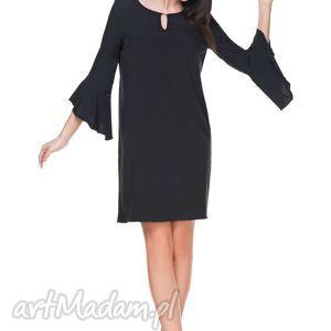 Sukienka szyfonowa T173, czarna - sukienka, szyfon, falbanka, elegancka, kobieca