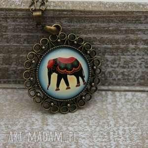 Boho kolorowy naszyjnik wisiorek słoń, słonik, boho, naszyjnik, długi, medalion