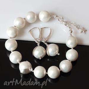 Perły seashell akadi 1 sea shell, srebro, ślub, komplet,