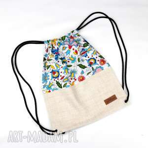 Prezent Worek plecak folkowy prezent kwiaty, worek, plecak, kolorowy, folk, kwiaty
