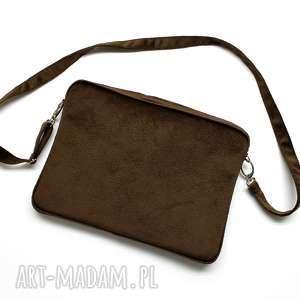 Etui na laptop - tkanina tłoczona brąz torebki niezwykle