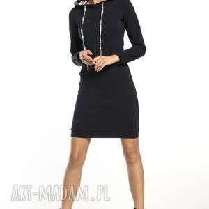 sukienki sportowa sukienka z kapturem wzorzystymi dodatkami, t293, granat /