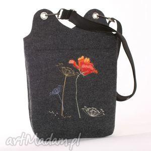 handmade torebki duża raportówka z haftowanym makiem ...