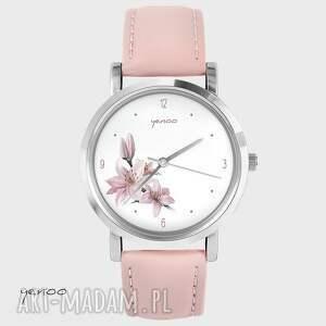 zegarki zegarek, bransoletka - różowa lilia pudrowy róż, skórzany, zegarek