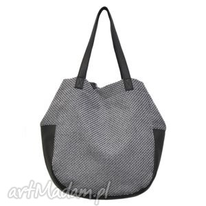 na ramię 24-0018 szaro-czarna torebka damska worek swallow, duże, modne, torebki