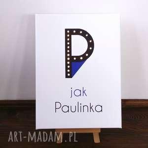 hand-made pokoik dziecka świecąca litera p z imieniem prezent lampka obraz