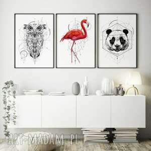 zestaw 3 plakatów #13 a3 - 29 7x42 0cm, sowa, flaming, różowy obraz, czarno