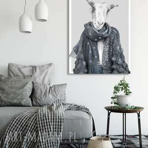Nowoczesny obraz drukowany na płótnie -szykowna koza wanda