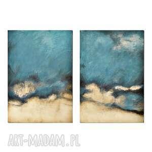 blue lagoon /3/, abstrakcja, nowoczesny obraz ręcznie malowany