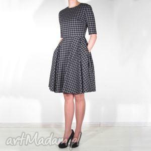 handmade sukienki sukienka w kratkę midi z kieszeniami