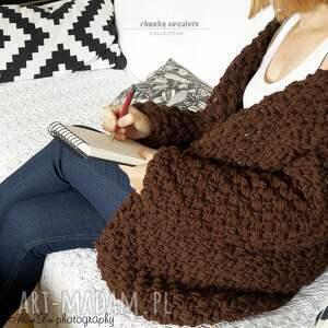 swetry brown chunky, sweter, gruby, dziergany, kardigan, masywny