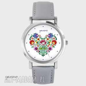 ręcznie wykonane zegarki zegarek, bransoletka - folkowe serce - szary, skórzany