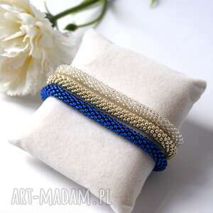 bransoletki silvery blue - zestaw koralikowych bransoletek, toho, beading