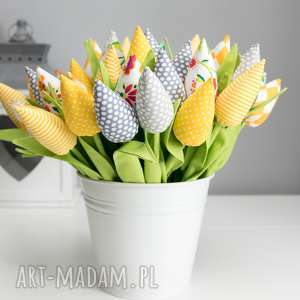 artshoplalashop tulipany bawełniane 12 sztuk, kwiaty, bawełna, prezent