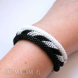Black n white set, beading, bransoletki, zestaw, bead-crochet, koralikowe