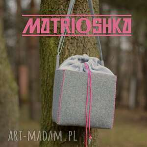 Kubik na ramię matrioshka design torba, sześcian, filc, bawełna,