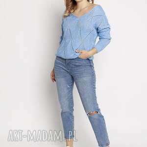handmade swetry ażurowy sweterek, swe231 niebieski mkm