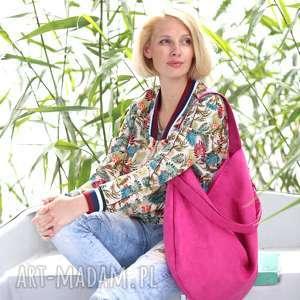 Workowata torba z ekologicznego zamszu w kolorze fuksji torebki