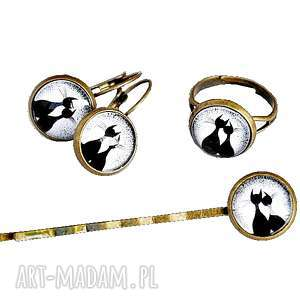 komplet dla kociary, koty, kotki, komplet, kolczyki, pierścionek, wsuwka