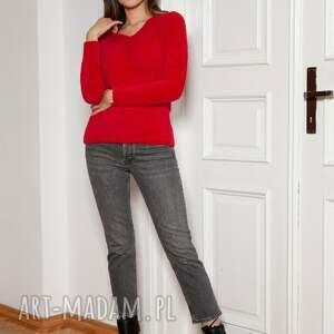 miękki, włochaty sweterek - swe147 czerwony, sweter, czerwony sweter