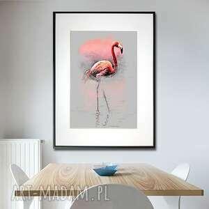 grafika w ramie flaming spacer 30x40, zwierzęta, z flamingiem, ramie