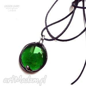 Zielone szkło w miedzi. Wisior hand made starym stylu, szkło, handmade, efektowny