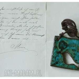 hand made wisiorki wisior z ażurowym ptakiem niebieski