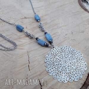 jewelsbyat rozeta z niebieskością - naszyjnik, biżuteria ze stali, stal
