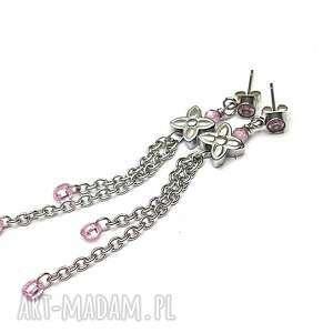 alloys collection /cyrkonie/ floral pink, stal szlachetna, cyrkonie, hematyt