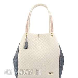 torebka pikowana simple 136 - pikowana, pojemna, lekka, farbota, simple